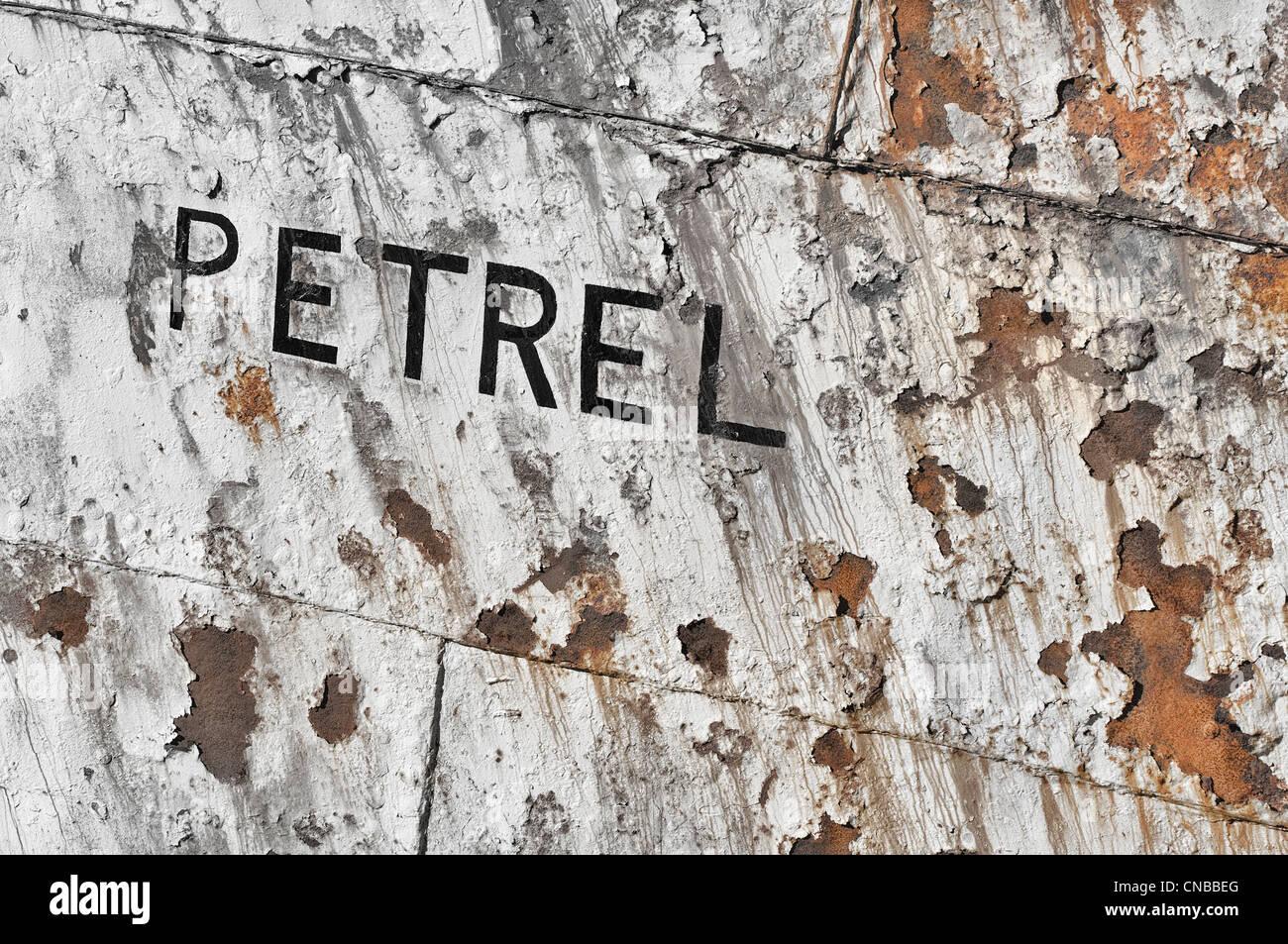 Abandoned Whaling ship rusting, Detail, Former Grytviken Whaling Station, South Georgia - Stock Image