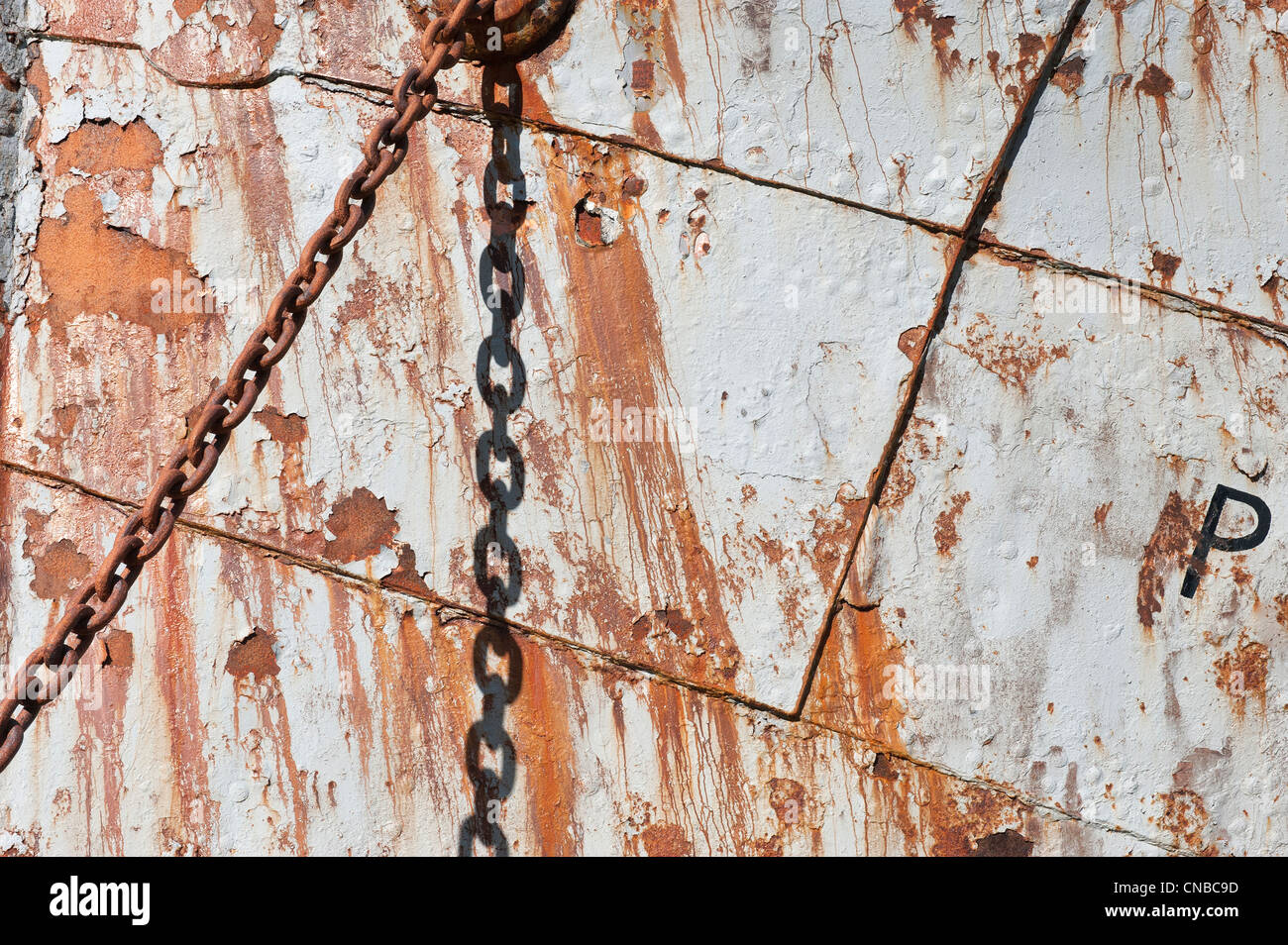 Detail of the Petrel whaling ship anchor chain, Former Grytviken Whaling Station, South Georgia - Stock Image