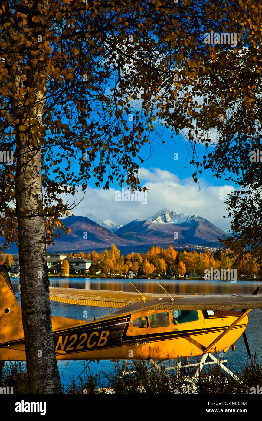 Float plane moored at Lake Hood Seaplane Base, Anchorage, Southcentral Alaska, Autumn - Stock Image