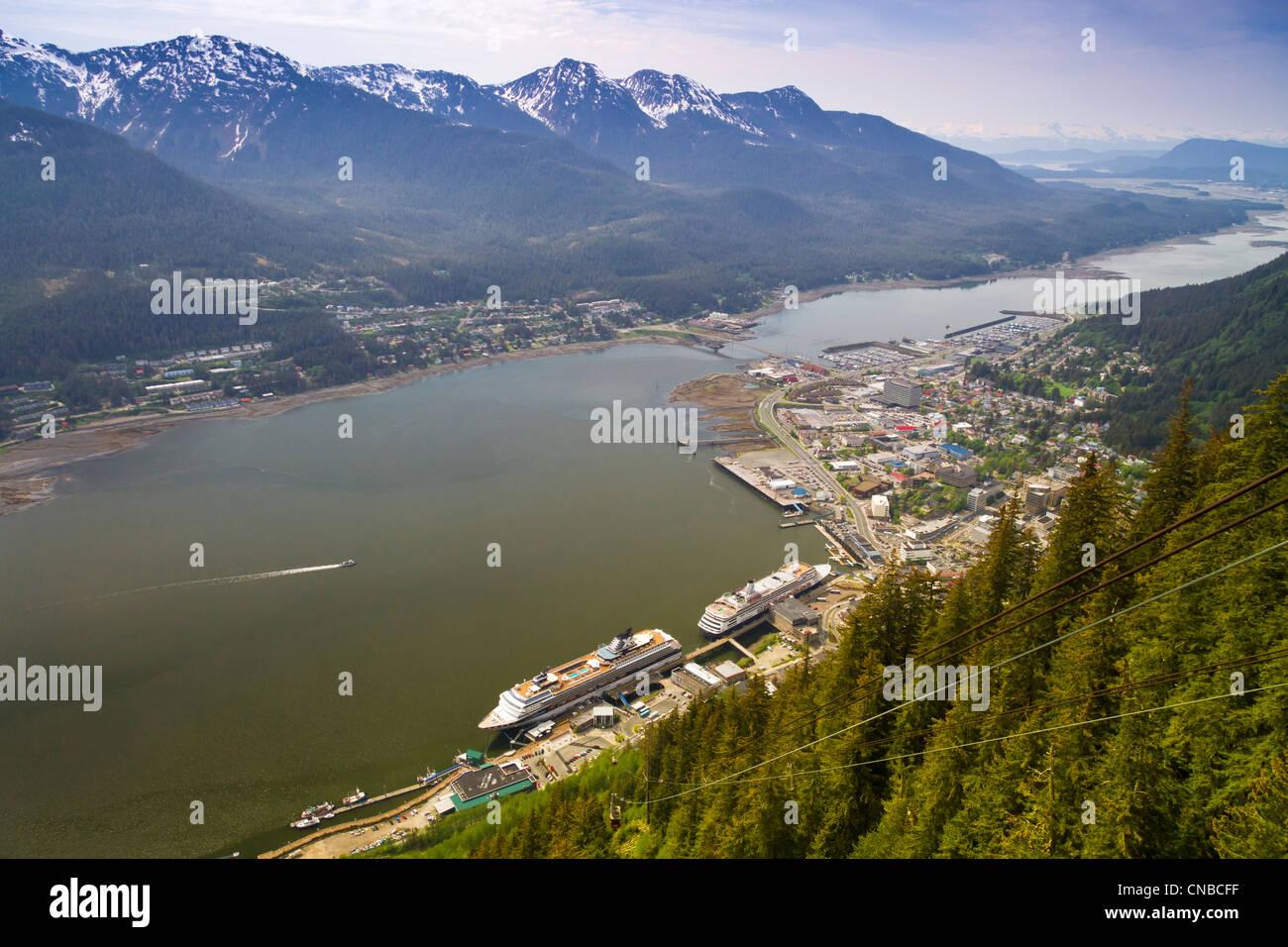 View of downtown Juneau and Douglas Island from Mt. Roberts Tram, Southeast Alaska, Summer - Stock Image