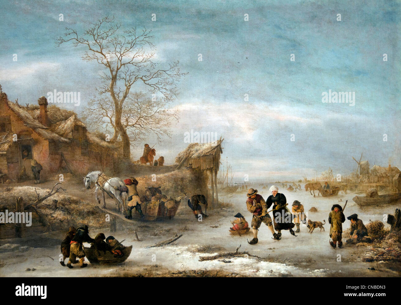 Frozen canal with pair skating 1644  Isaack van OSTADE 1621 - 1649 Dutch Netherlands - Stock Image