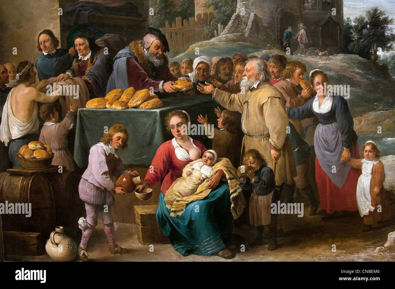 Les Oeuvres de miséricorde -  The Works of Mercy 1640 David Teniers the Younger 1610-1690 France French - Stock Image