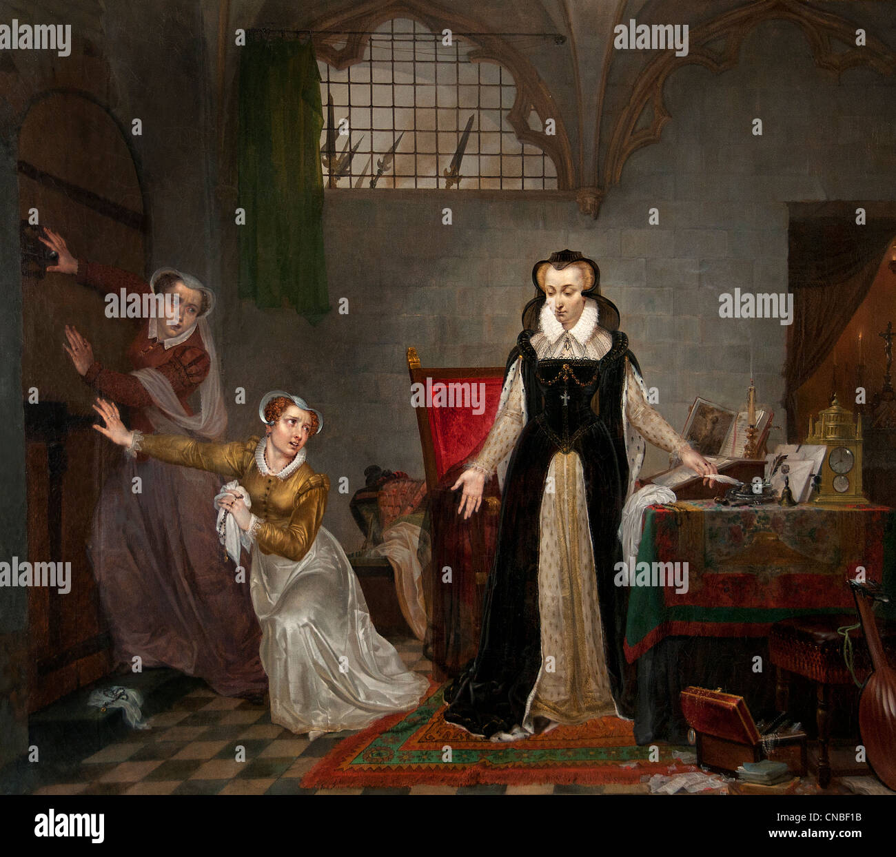 Mary Stuart Queen of Scots when it comes to get her to go to death by Philippe Scotland Jacques van Bree1819 Belgian - Stock Image