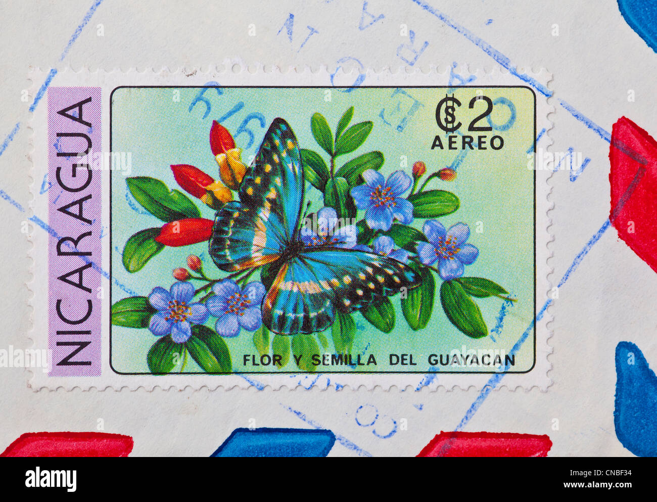 Colourful stamp from Nicaragua - Stock Image