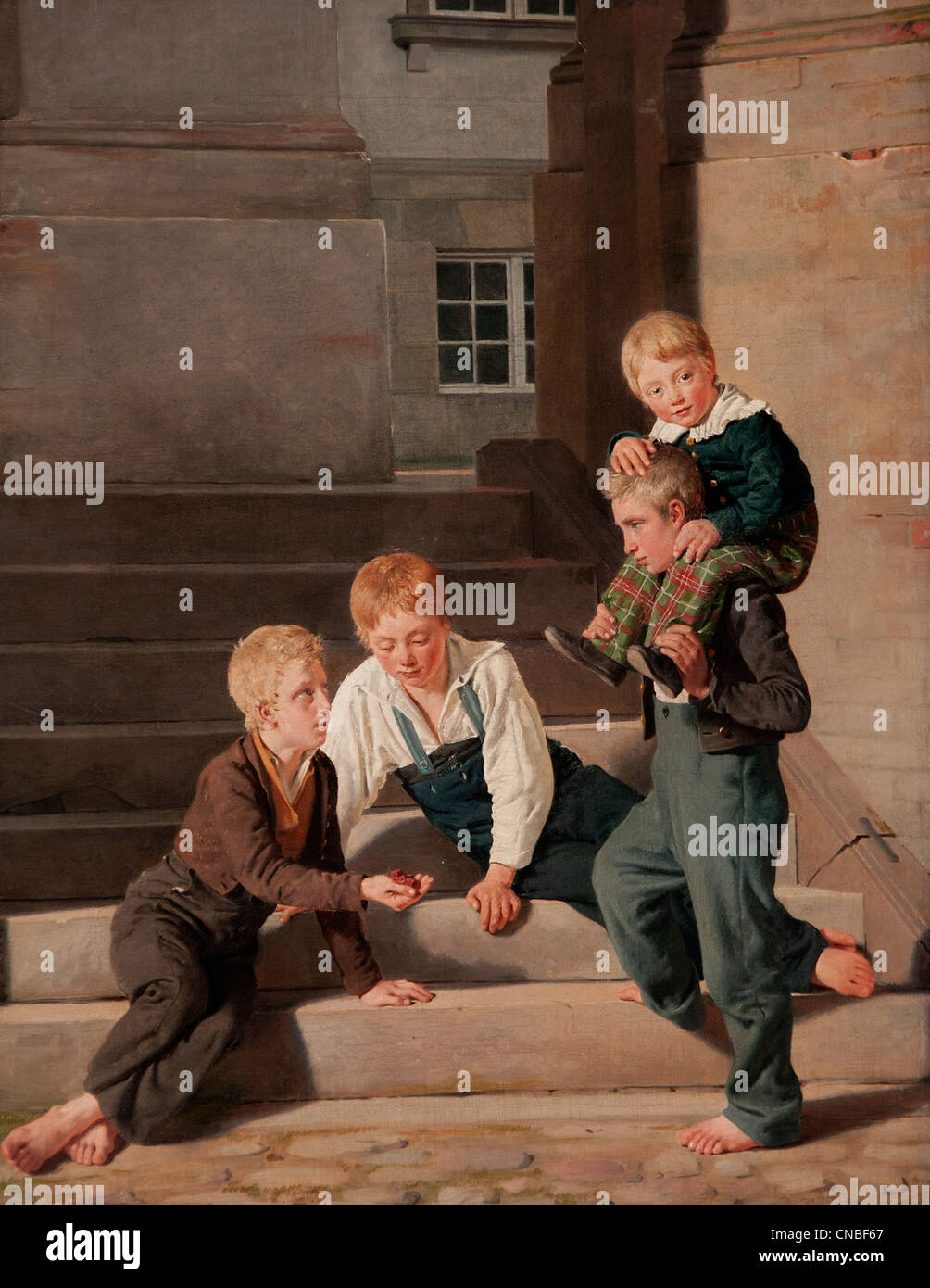 Young boys playing dice in front of Christiansborg Castle in Copenhagen 1834 Constantin HANSEN 1804 - 1880 Denmark - Stock Image