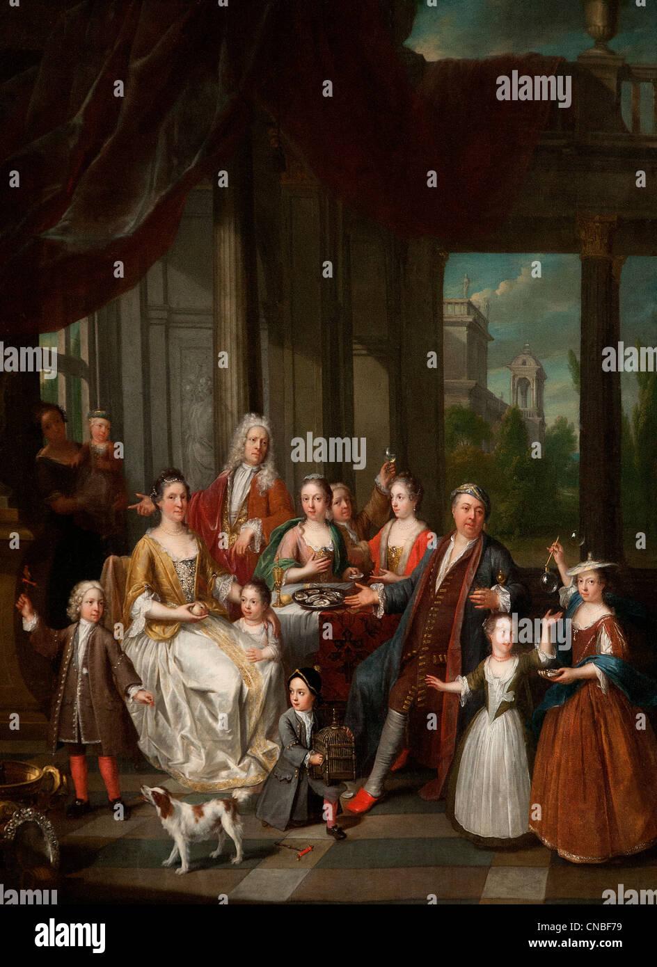 Réunion familiale près d'un portique - Family reunion near a porch 1731 by Balthasar BESCHEY 1708 - Stock Image