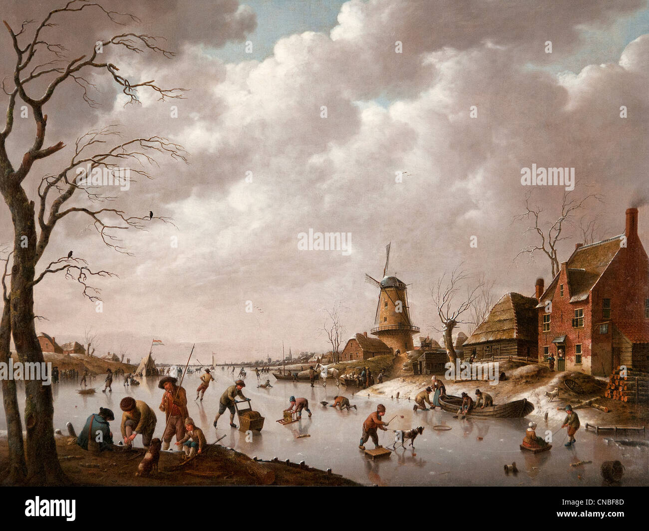Patineurs sur un canal glacé - Skaters on a frozen canal 1779 by Hendrick Willem SCHWEICKHARDT  1746 - 1797 - Stock Image