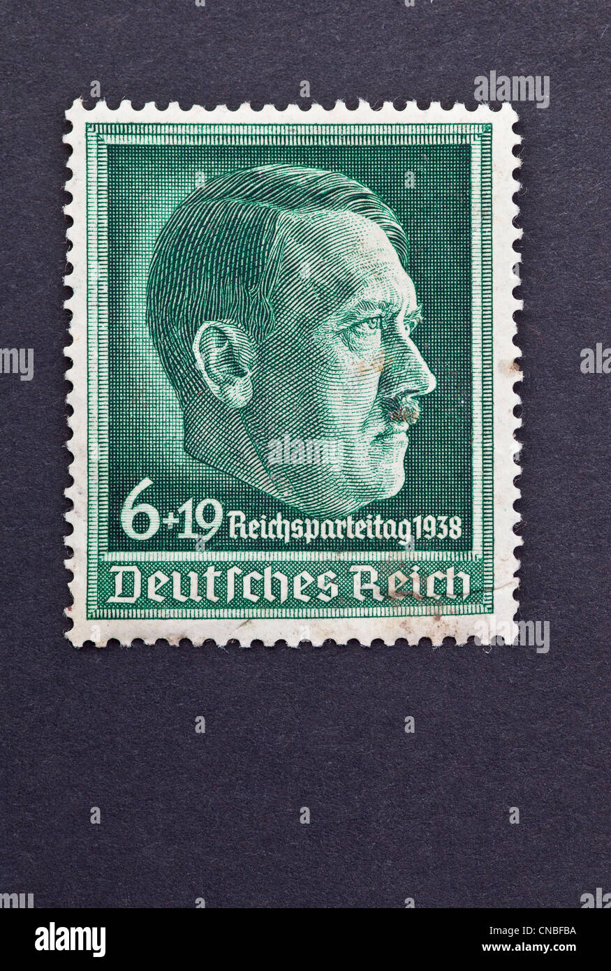 German world war two stamp with Hitlers head profile - Stock Image