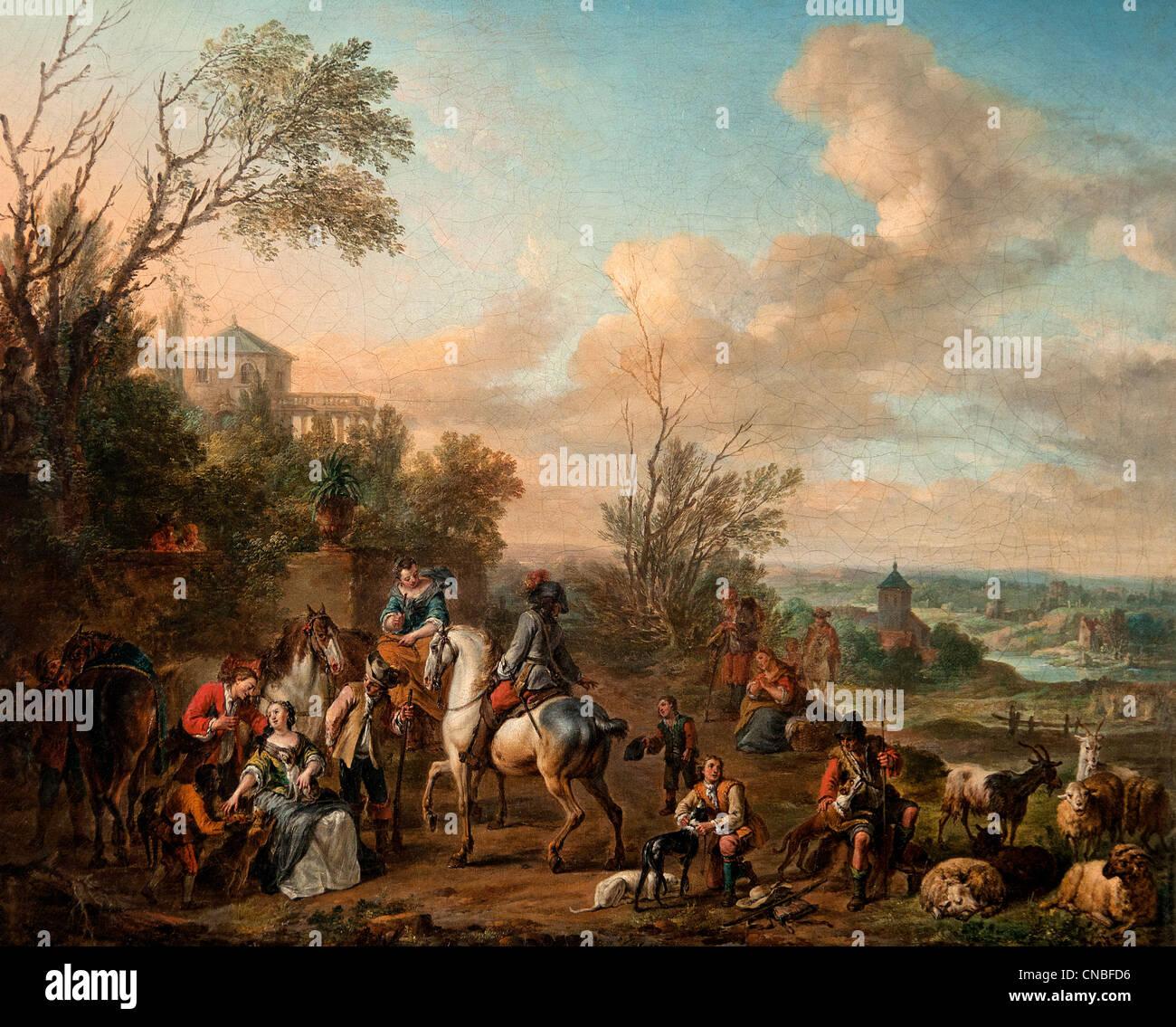 HALTE DE CHASSEURS - STOP HUNTERS 1703 by Carel Van FALENS 1683 -1733 Flemish Flandres - Stock Image