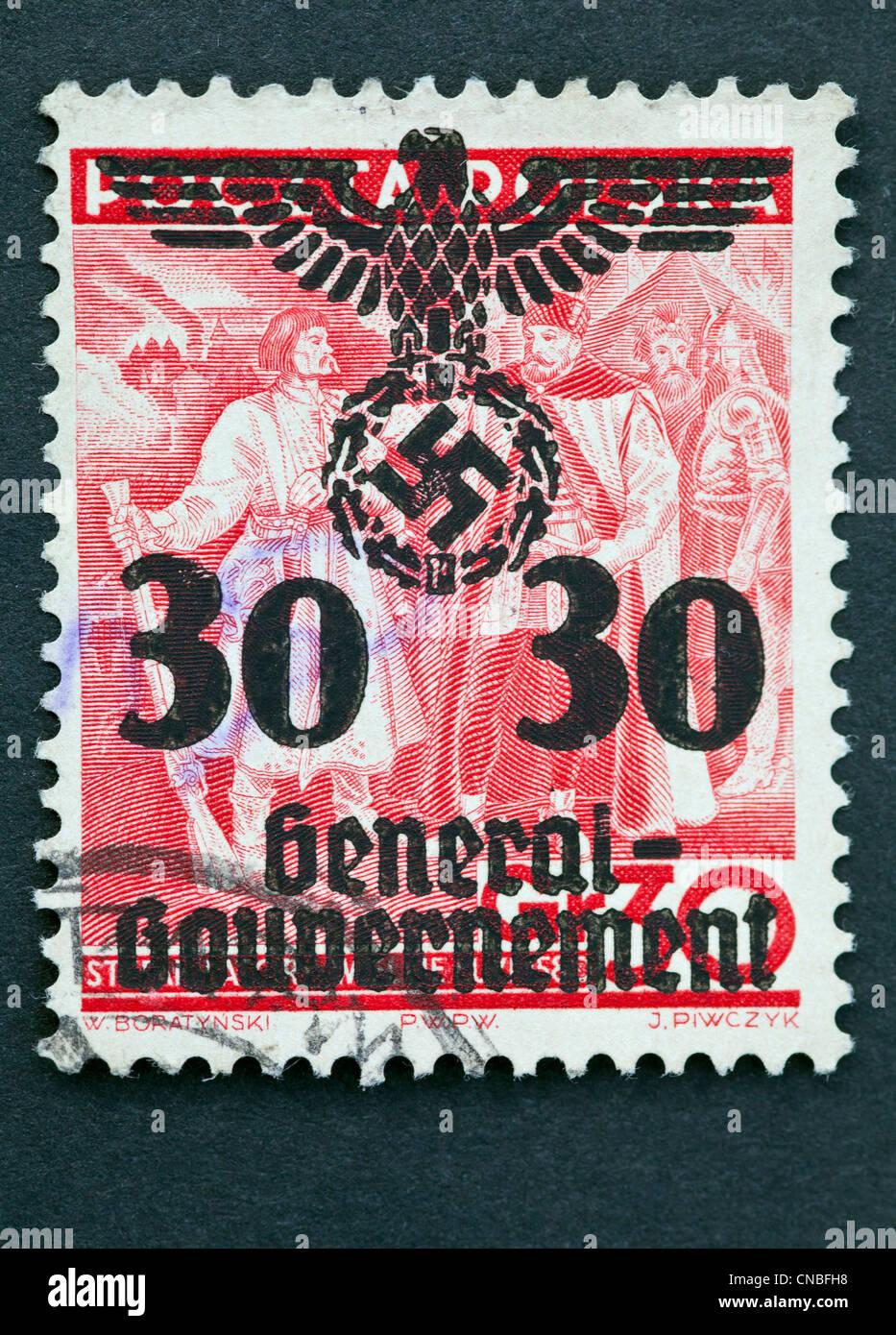 Polish stamp with Nazi overprint - Stock Image