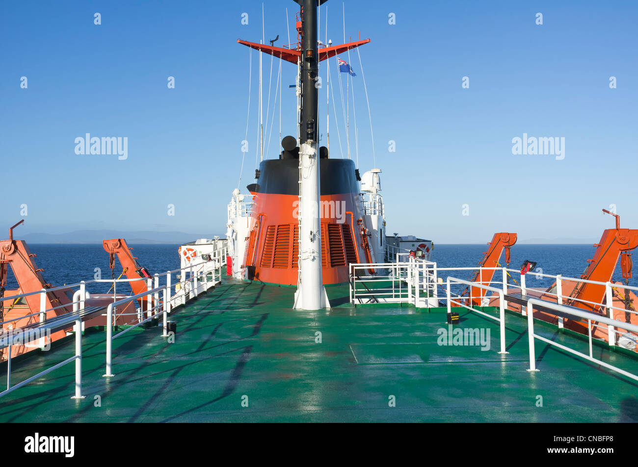 Sun deck of a cruise ship in the sub Antarctic regions, South Georgia - Stock Image