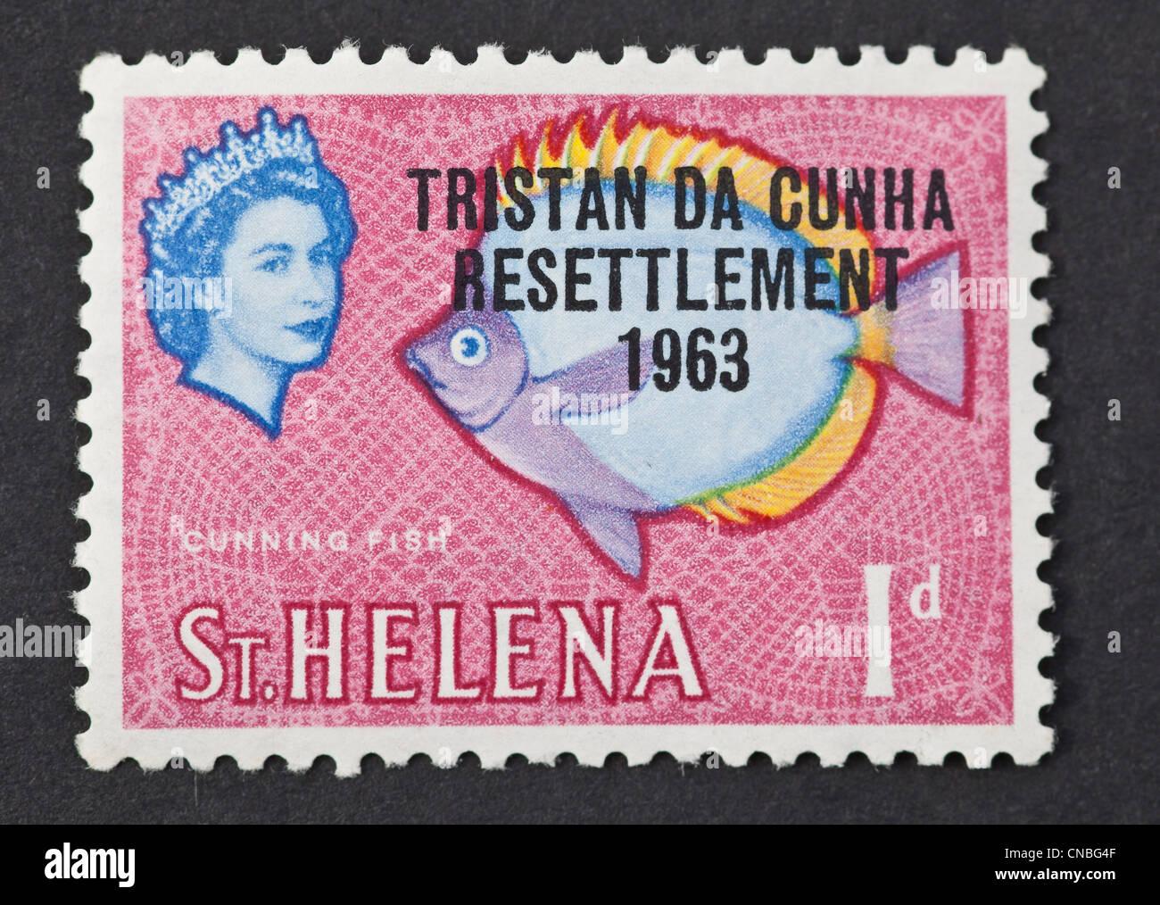 Tristan Da Cunha, 1963 resettlement overprint on St.Helena mint stamp. 1963. - Stock Image