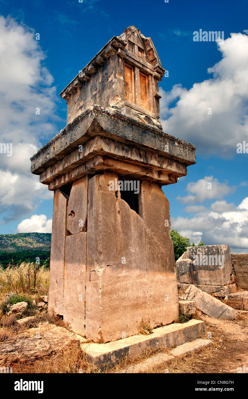 Lycian  marble pillar tomb from 480-470 B.C.  Xanthos UNESCO World Heritage Archaeological Site, Turkey - Stock Image