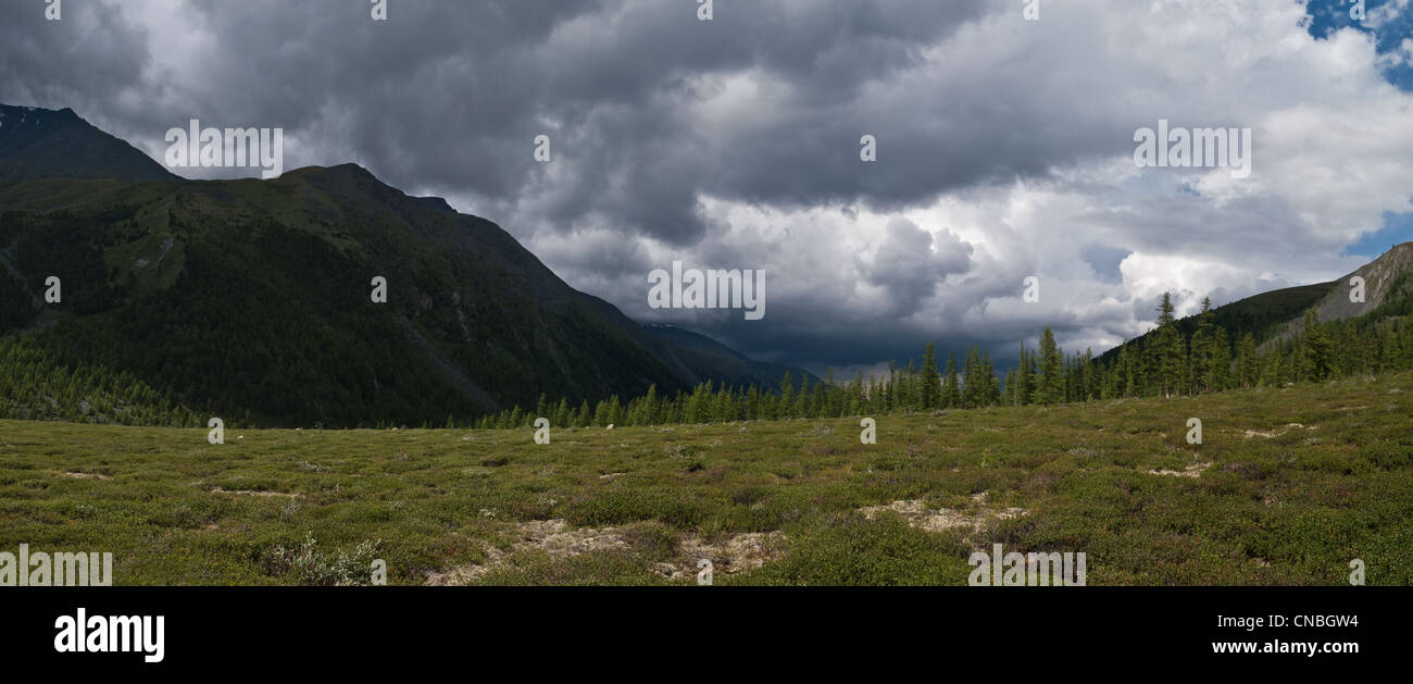 Valley of Ak Kem river in Altay (Russia) before storm - Stock Image