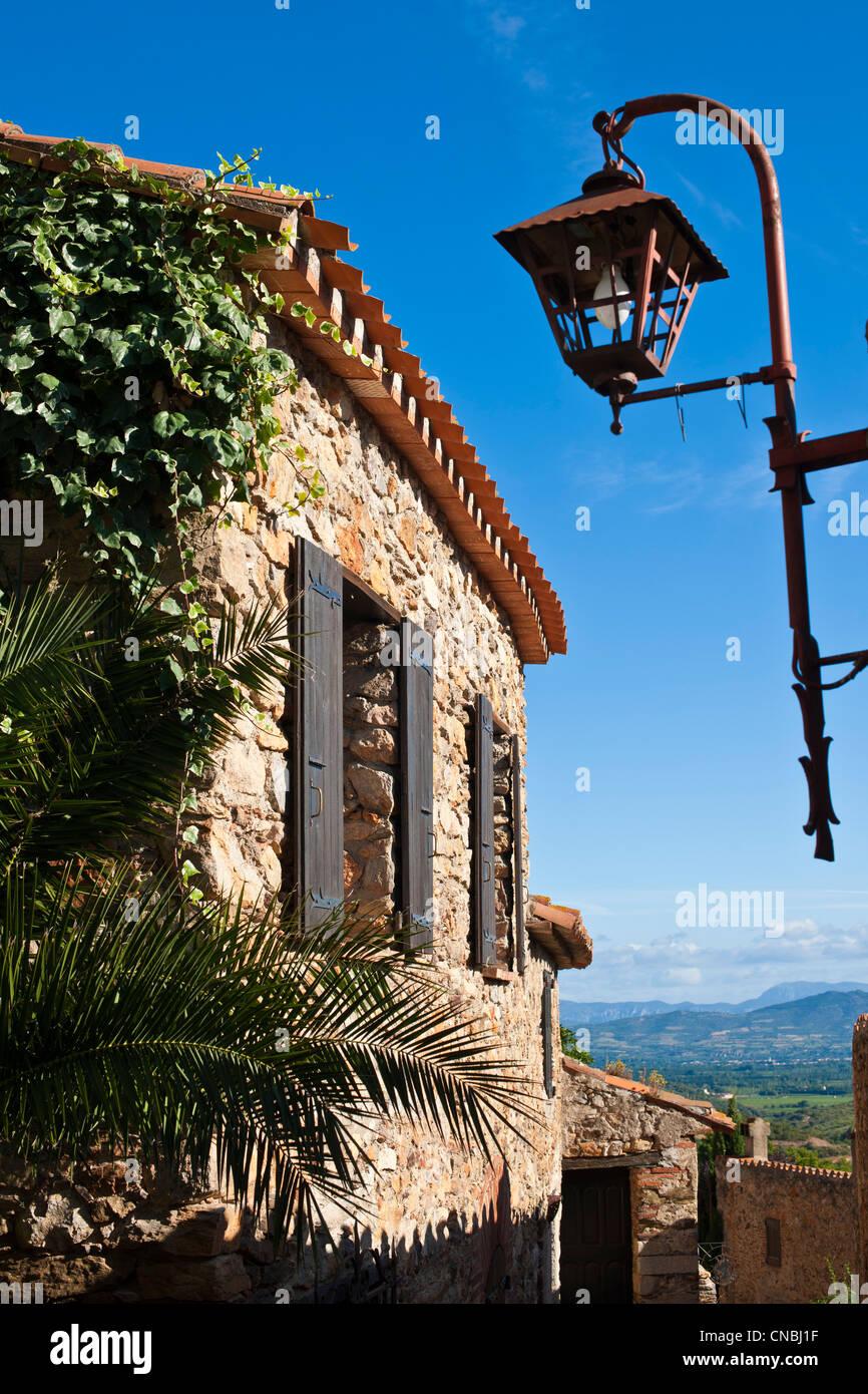 France, Pyrenees Orientales, Castelnou labelled Les Plus Beaux Villages de France (The Most Beautiful Villages of France), Stock Photo
