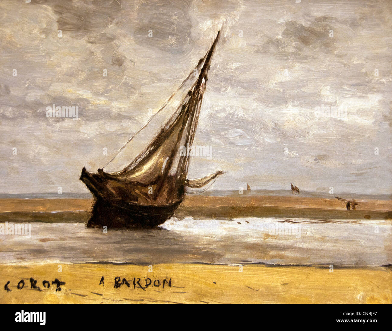 Trouville boat fishing boat aground at low tide 1830 - 1840 Jean Baptiste Camille Corot 1796-1875 France French - Stock Image