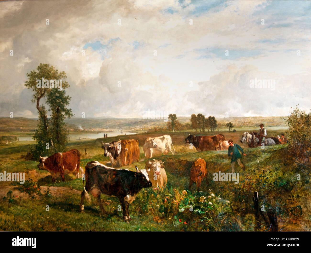Vue prise des hauteurs de Suresnes - View taken from the heights of Suresnes Constant TROYON 1810 - 1865 France - Stock Image