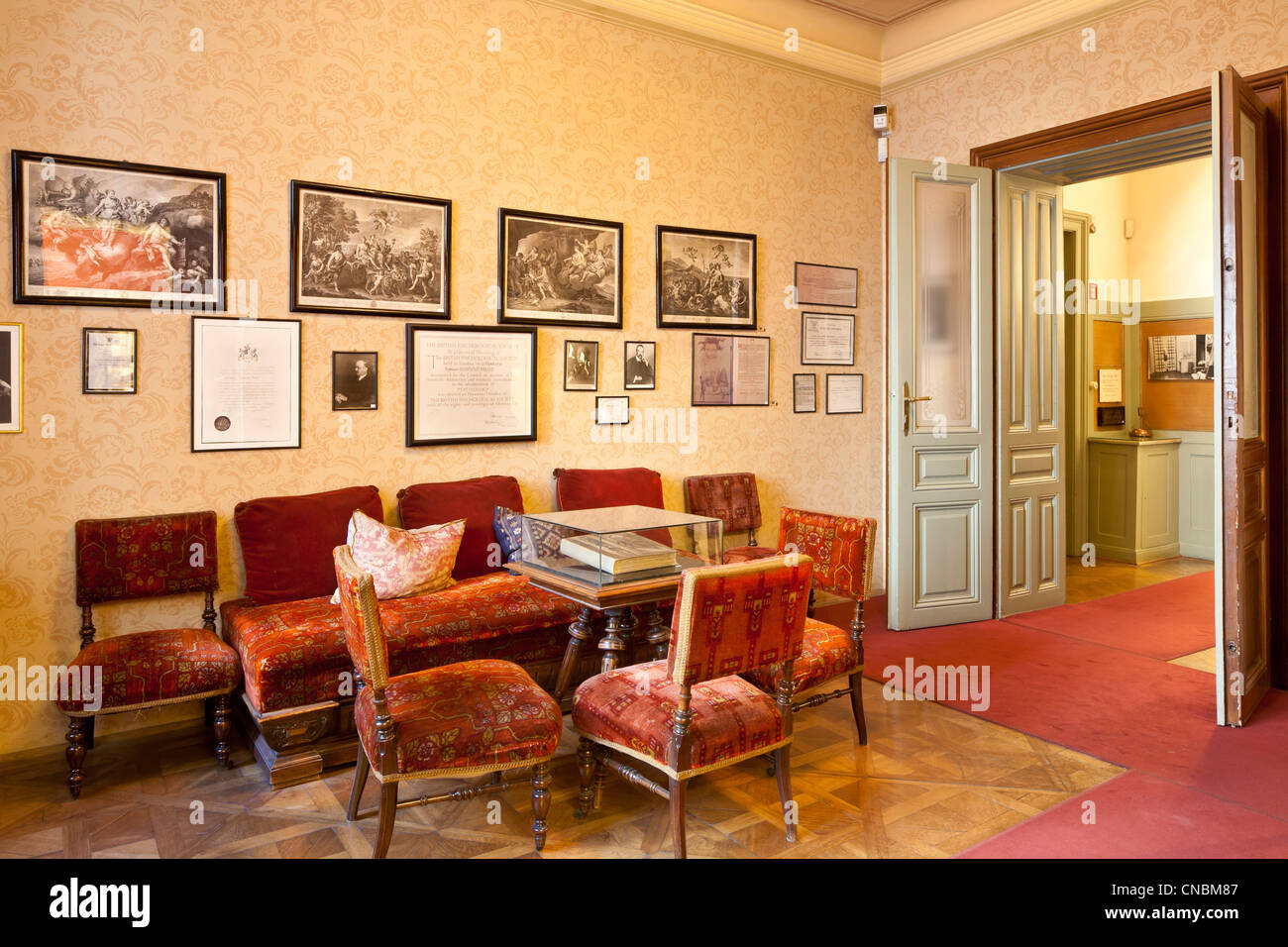 Austria, Vienna, Berggasse, Sigmund Freud Museum, where the father of psychoanalysis lived and worked from 1891 - Stock Image