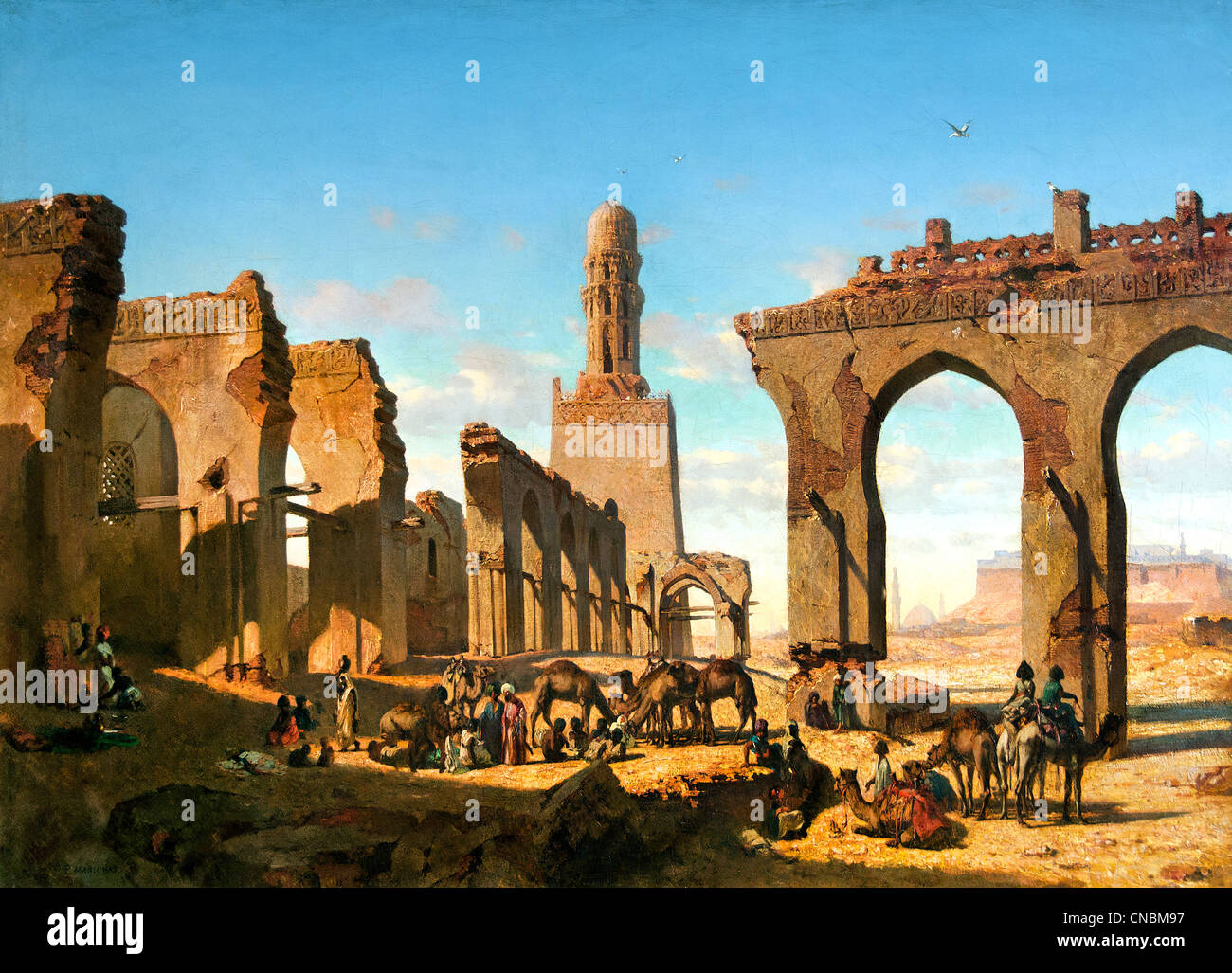 Ruins of the Mosque of the Caliph Hakim in Cairo - Ruines de la mosquée du khalife Hakem au Caire Prosper MARILHAT1811 - Stock Image