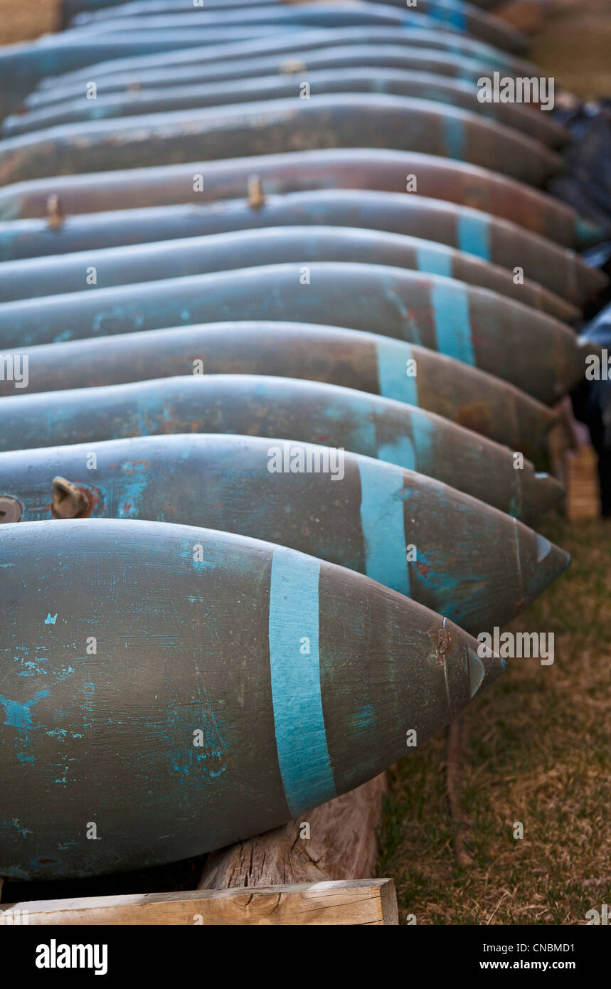 The South Dakota Air and Space Museum, adjacent to Ellsworth Air Force Base, displays 750-pound bombs. - Stock Image