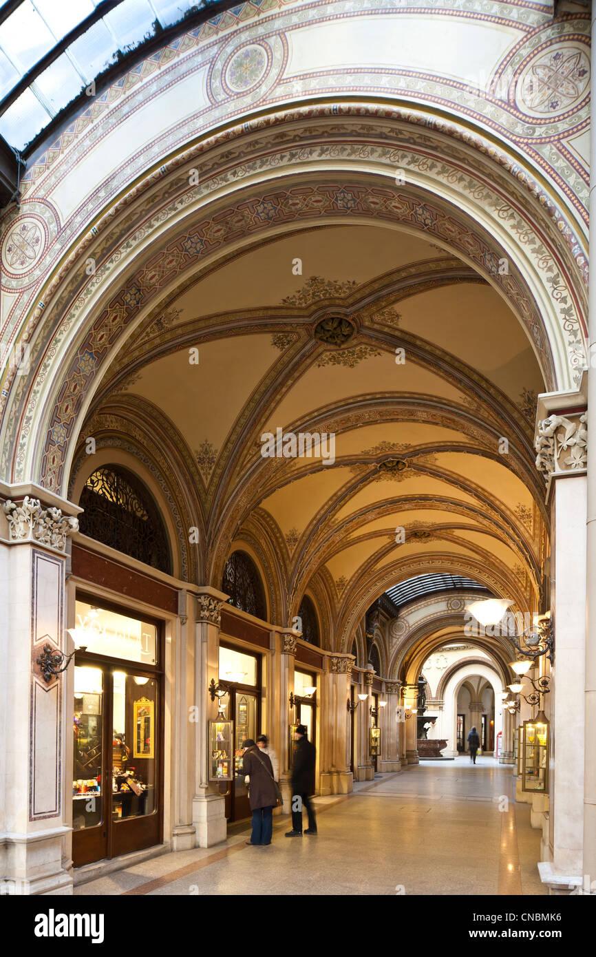 Austria, Vienna, Ferstel Palace, built in 1860 by architect Heinrich von Ferstel - Stock Image