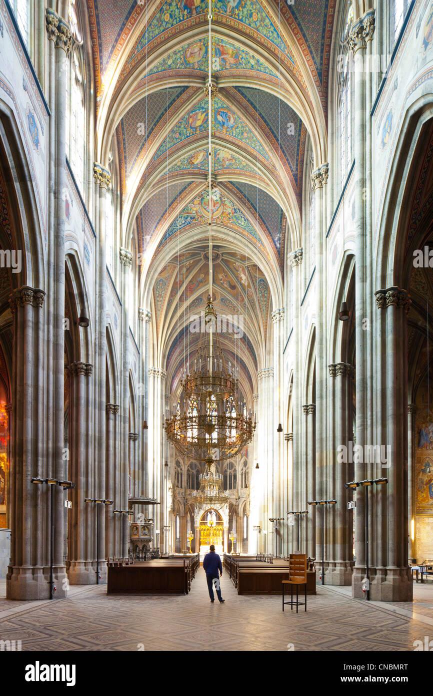 Austria, Vienna, Votive church (Votivkirche), Neo-Gothic style, built by architect Heinrich von Ferstel to commemorate - Stock Image