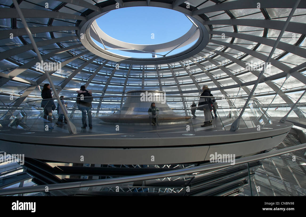 Tourists on a visitor platform under the cupola in the Reichstag, Berlin, Germany Stock Photo