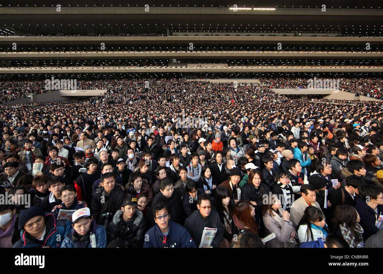 Spectators at the Fuchu horse race track during the Japan Cup, Tokyo, Japan - Stock Image