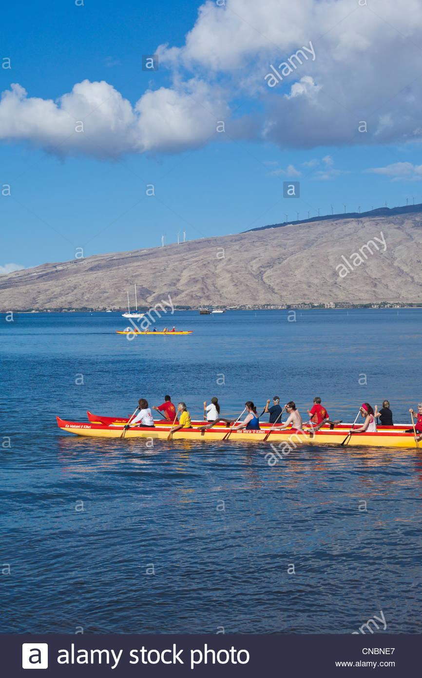 Catamaran canoe at the Kihei Canoe Club in Kihei on the island of Maui in the State of Hawaii USA - Stock Image