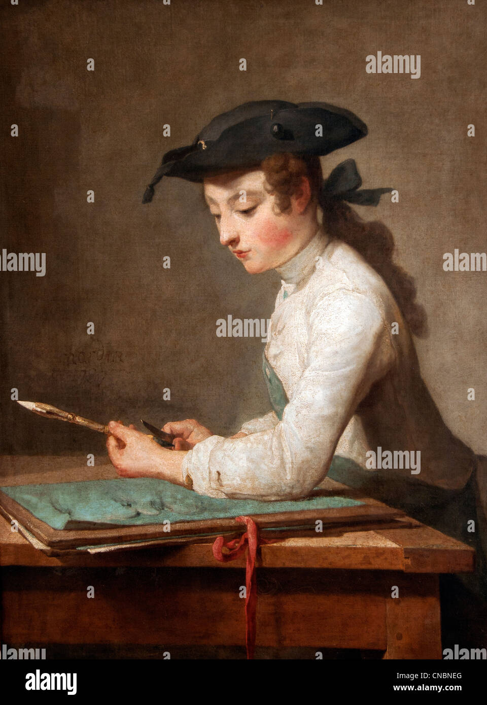 Le jeune dessinateur - Young Man Sharpening Pencil Jean Simeon Chardin  1699 – 1779 France French - Stock Image