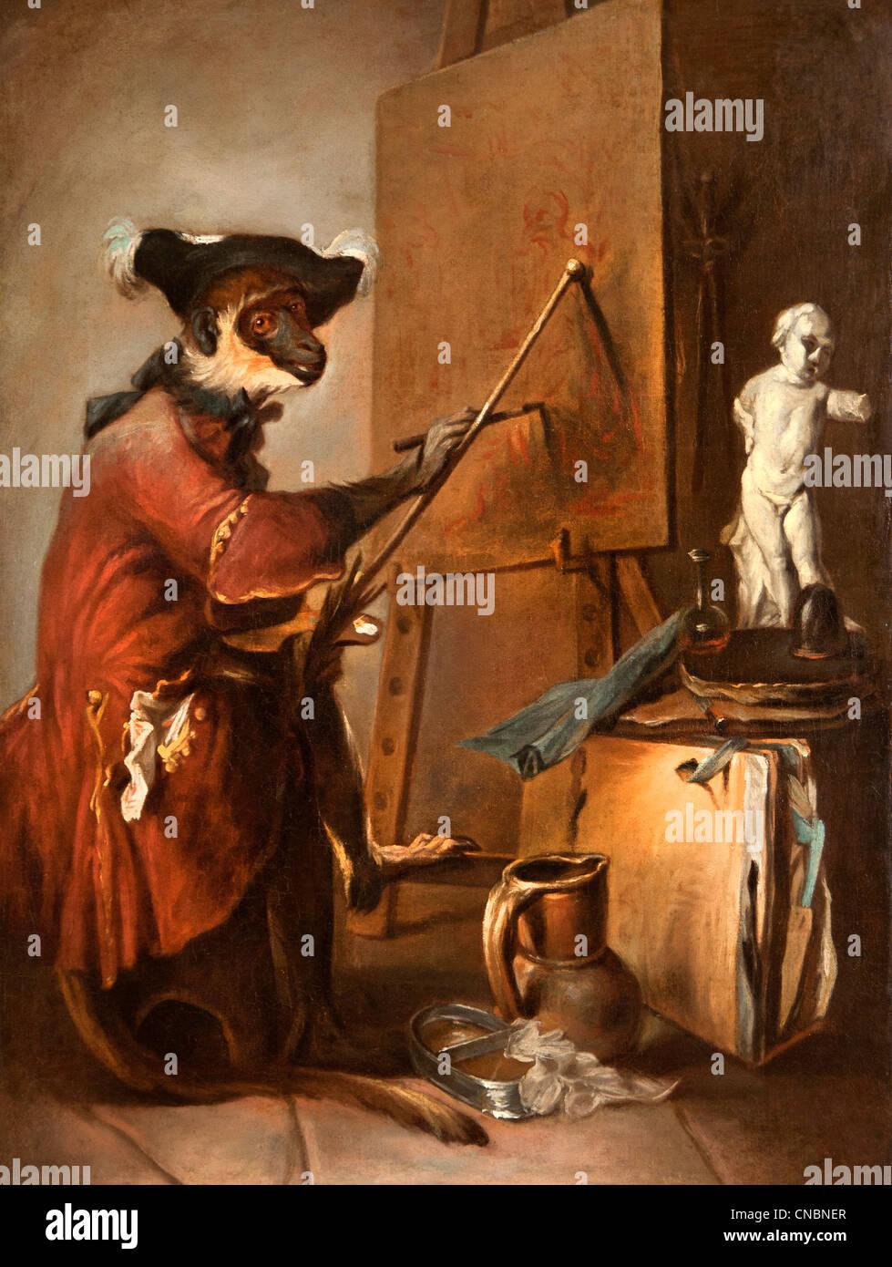 Le singe peintre - The Monkey Painter Jean Simeon Chardin  1699 – 1779 France French - Stock Image