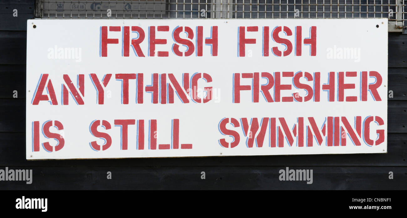 Waterfront humorous sign seen on stall & hut selling fresh fish directly from nearby beached fishing boats Aldeburgh - Stock Image