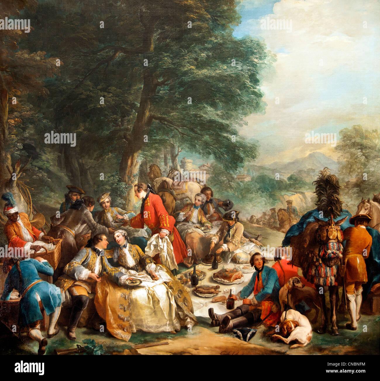 Charles André dit Carle Vanloo - Halte de chasse  Charles-André Carle Vanloo - Stop Hunting 1737 France - Stock Image