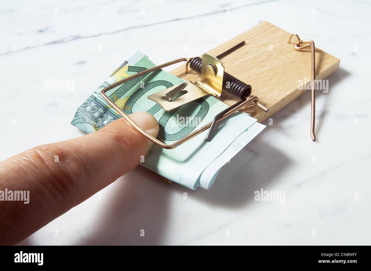 Symbolic picture of a cost trap Stock Photo