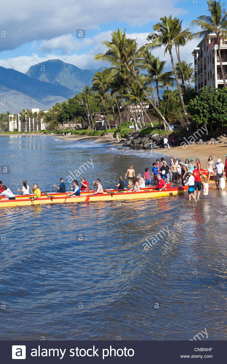 Catamaran canoe at Sugar Beach at the Kihei Canoe Club in Kihei on the island of Maui in the State of Hawaii USA - Stock Image