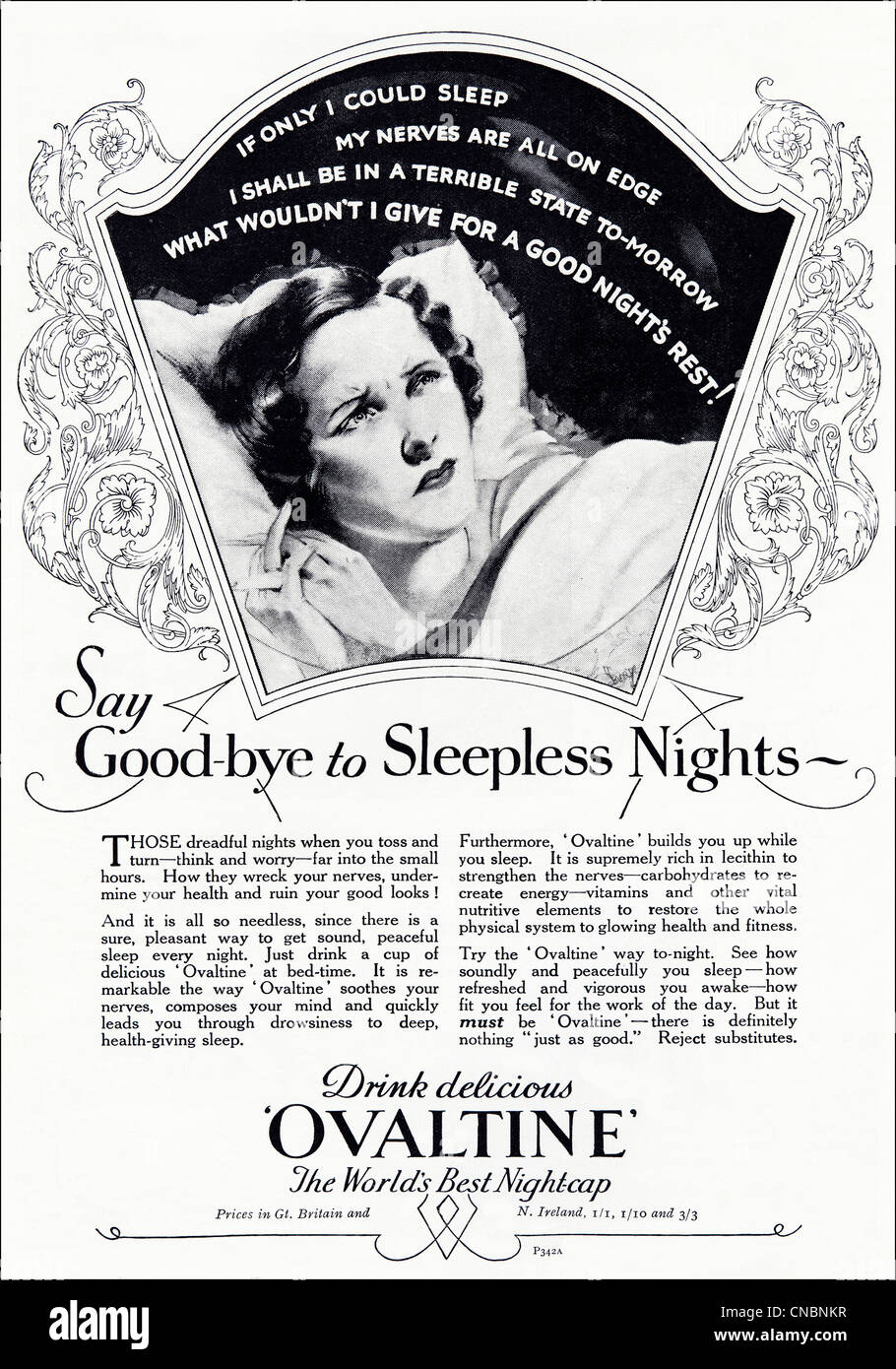 Original double page 1930s consumer magazine advertisement advertising OVALTINE night time drink - Stock Image