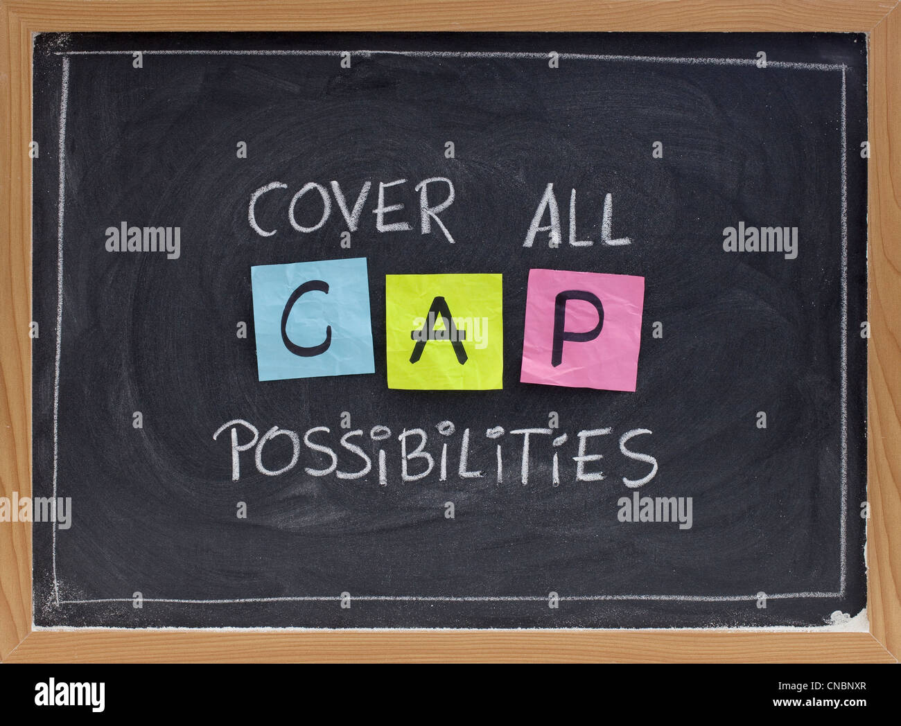 CAP (cover all possibilities) - versatile training and planning acronym, white chalk handwriting - Stock Image