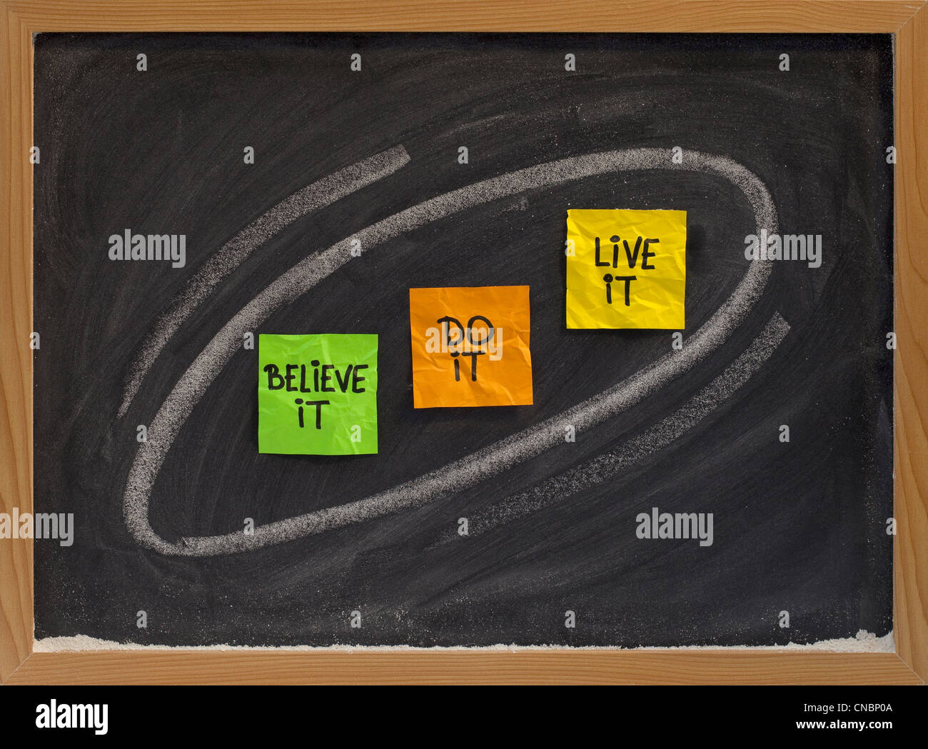 believe it, do it, live it - motivational concept on blackboard, color sticky notes and white chalk drawing - Stock Image
