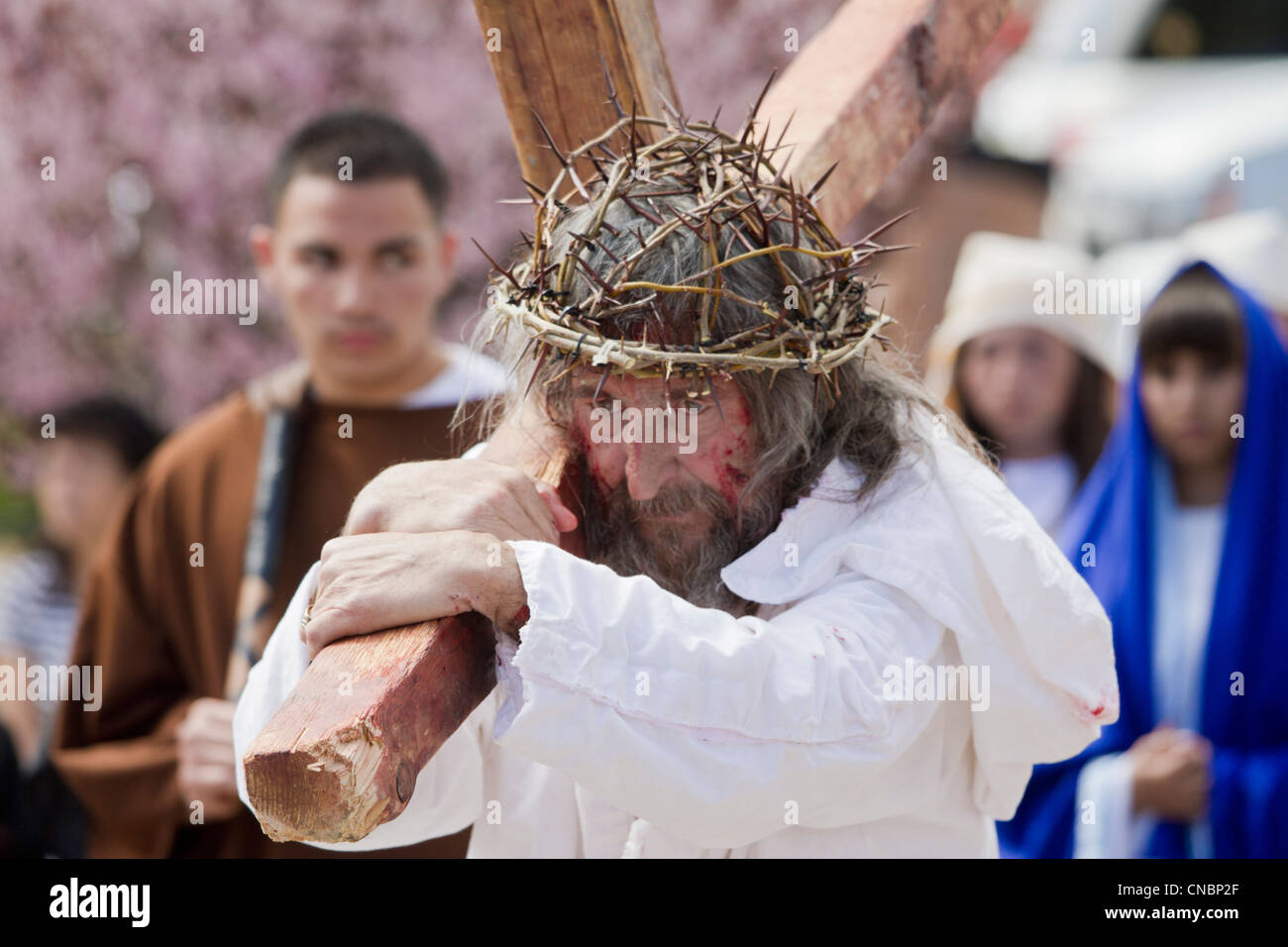 Re-enactement of the Passion of the Christ during Easter celebrations at the Chimayo Sanctuary, New Mexico. - Stock Image