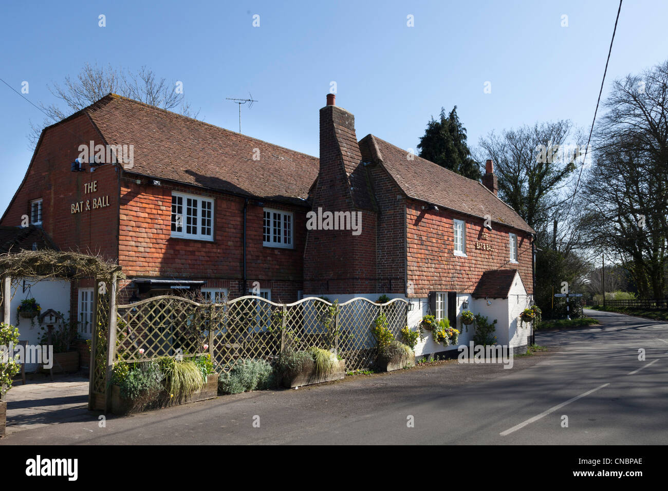 The bat and Ball pub opposite Hambledon Cricked Ground in Hampshire - Stock Image