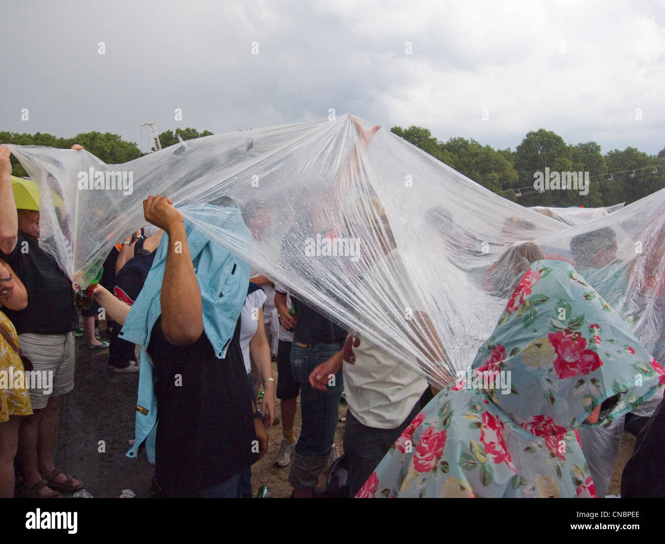 A crowd sheltering from the rain under a sheet of plastic at an outdoor concert - Stock Image