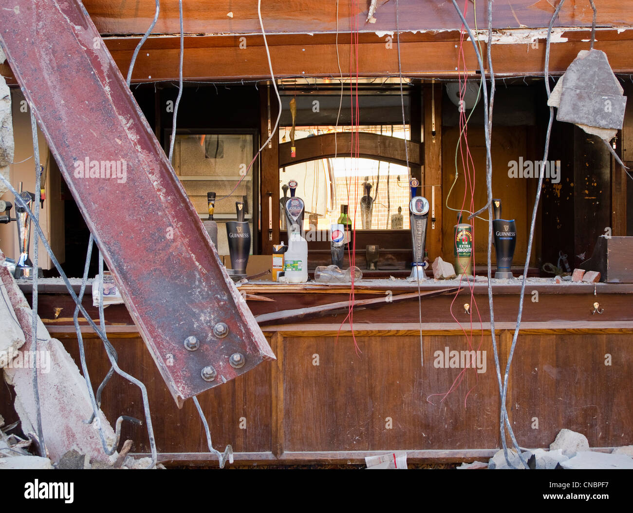the bar of a pub (public house) that is being demolished - Stock Image