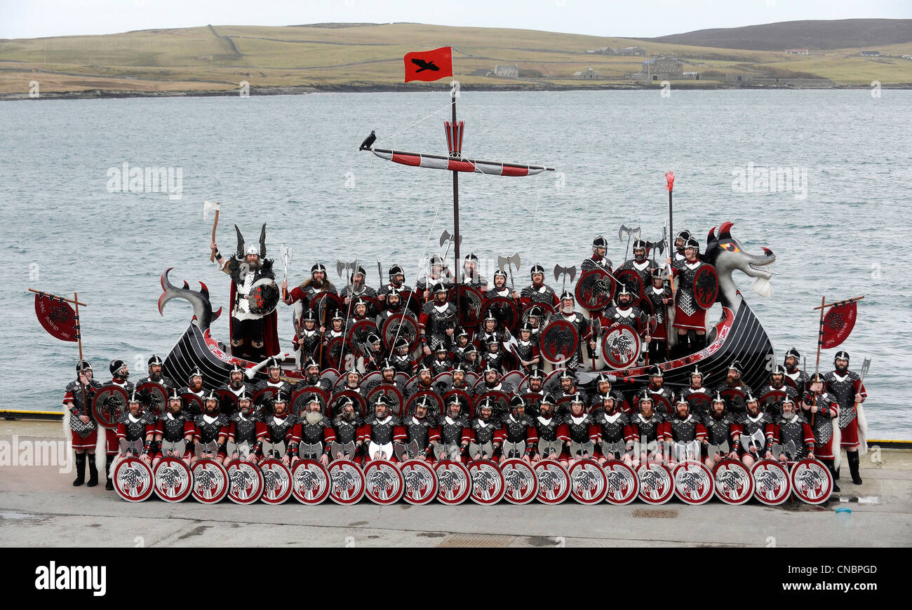 Men dressed in Viking costume take part in the annual Up Helly Aa festival in Lerwick, Shetland Island, Scotland. Stock Photo