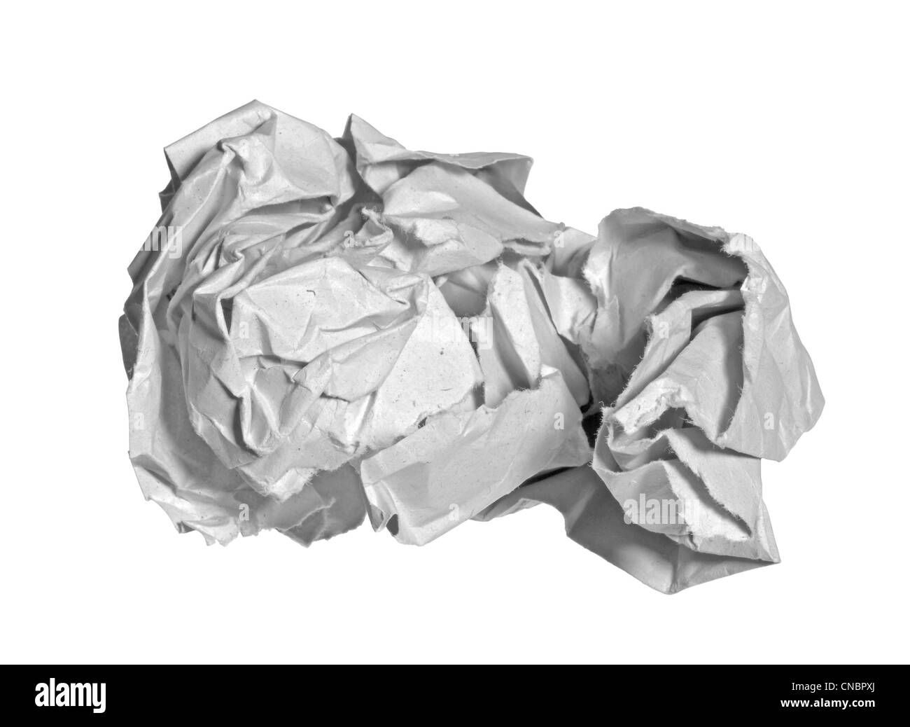 crumpled paper ball in white back - Stock Image