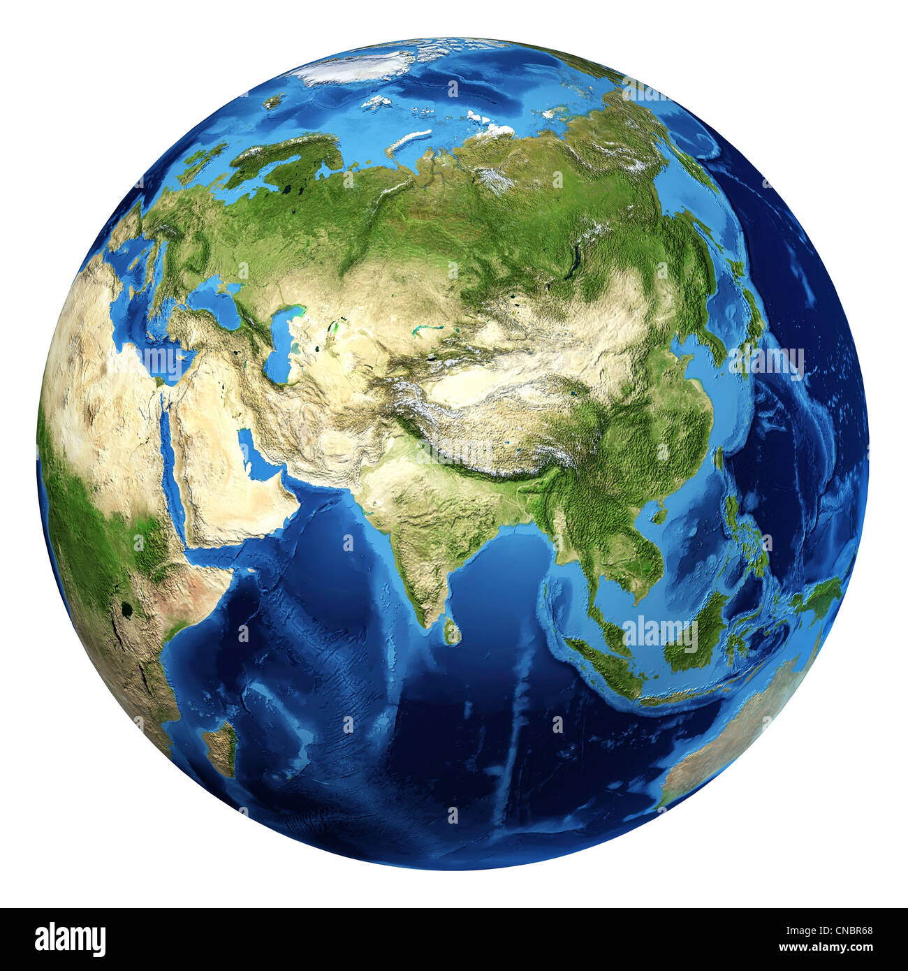 Earth globe, realistic 3 D rendering. Asia view. On white background. - Stock Image