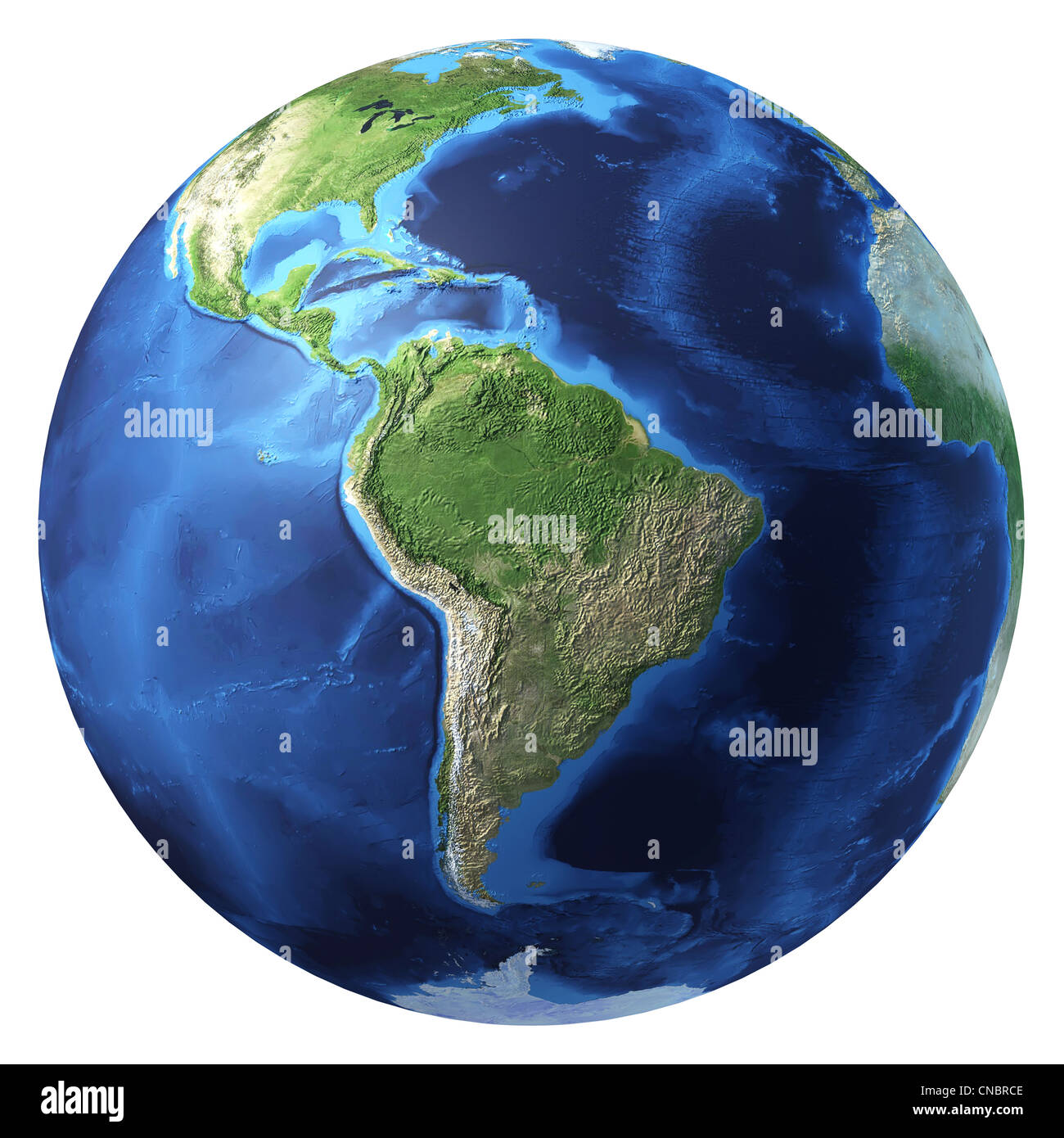 Earth globe, realistic 3 D rendering. South America view. On white background. - Stock Image