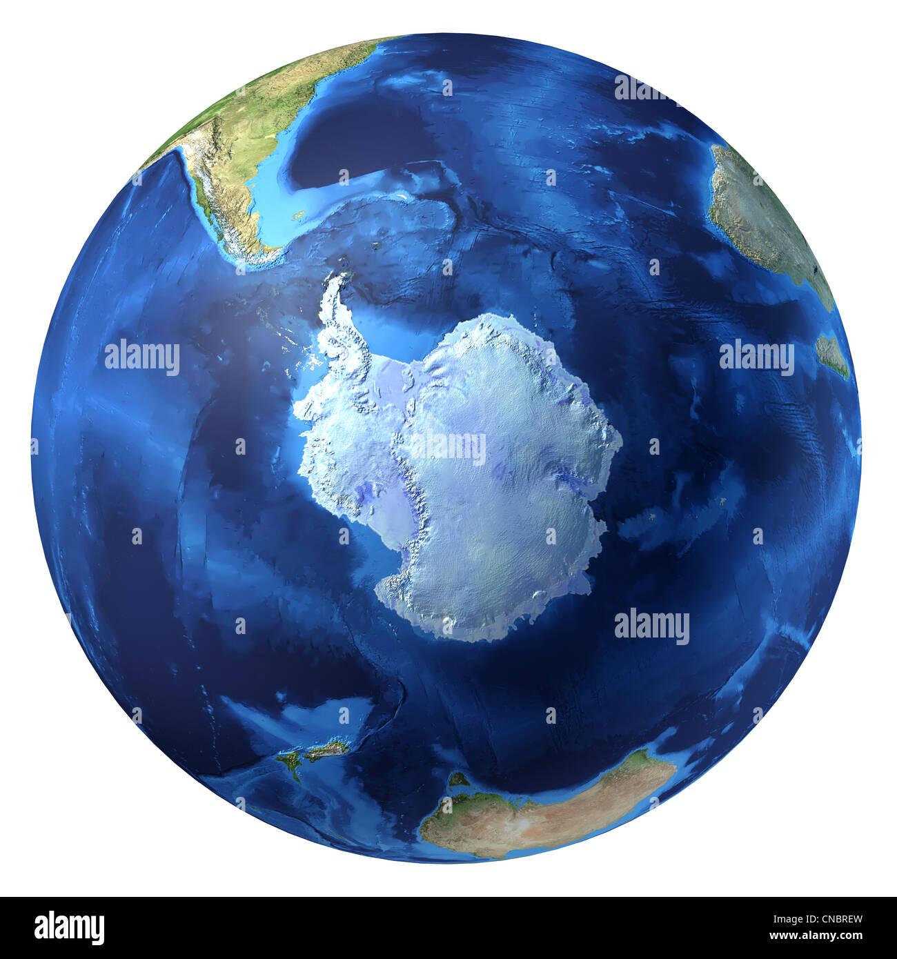 Earth globe, realistic 3 D rendering. Antarctic (south pole) view. On white background. With underwater ground reliefs. - Stock Image
