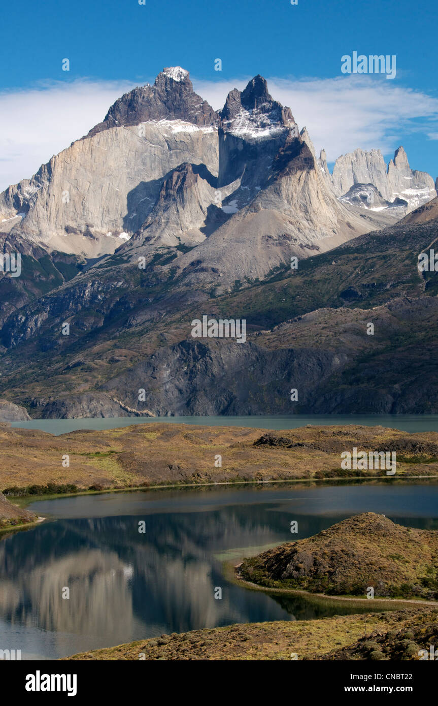 Lago Nordenskjold and East Cernos del Paine Torres del Paine National Park Patagonia Chile - Stock Image