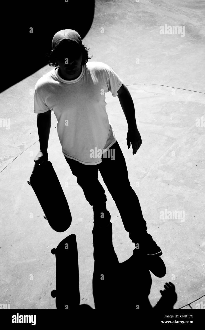 Skateboarder standing
