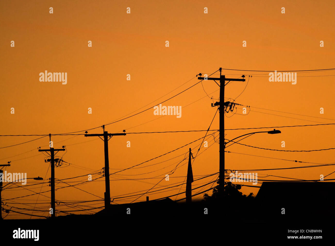 Silhouettes of the power lines and wires in a residential neighborhood backlit by the evening sky. - Stock Image